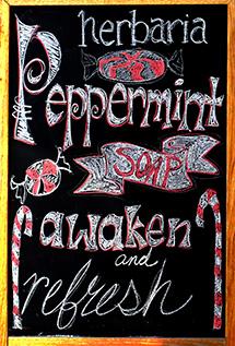 Melissa's Herbaria Peppermint blackboard