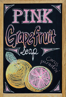 Melissa's Herbaria Pink Grapefruit chalkboard