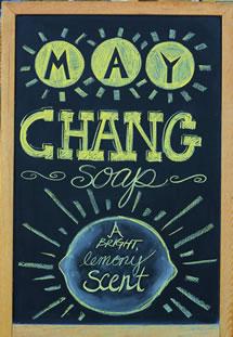 Melissa's Herbaria May Chang chalkboard