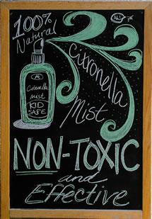 Melissa's Herbaria Citronella Mist chalkboard