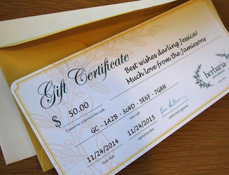 Herbaria gift certificate photo