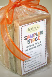 a key identifies the six varieties in the soap sampler stack photo