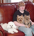 Brad Smith with yorkies Angel & Honey and bichon Jolie.
