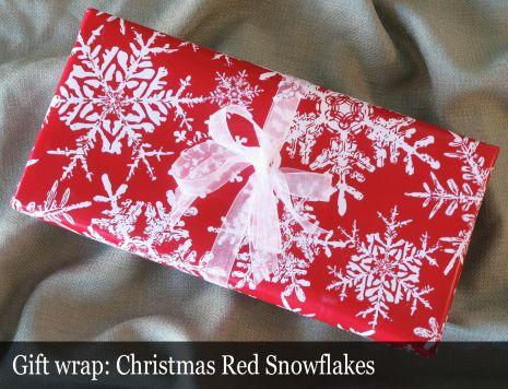 Gift Wrap Christmas-Red Snowflakes